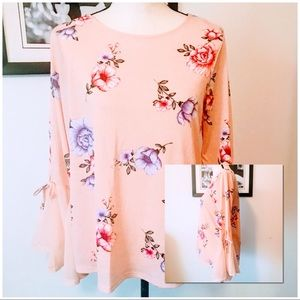 NWT! LC LAUREN CONRAD PINK FLORAL CHIFFON BELL